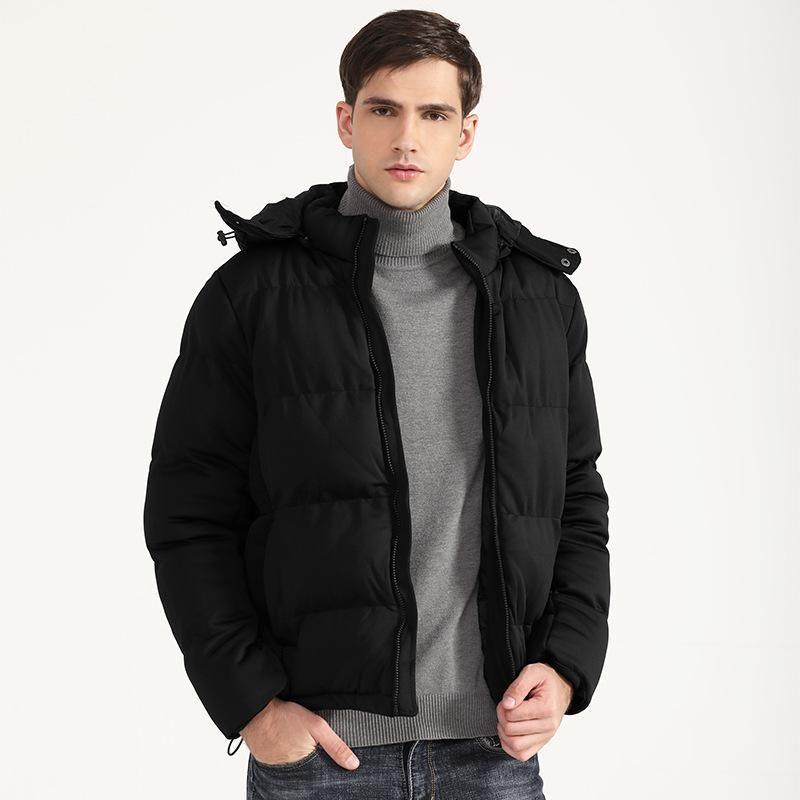 Men's Cotton Coat Thick Solid Color Down Jacket Short Winter Wear