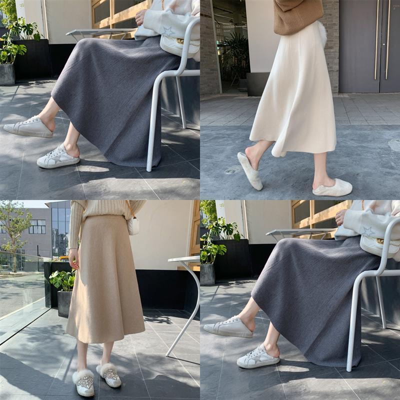 8lCfn High Size Women Plus Maxi sweater skirt Knitting Skirt ZANZEA Office Skirt Lady A Line Skirts Vintage Long Slimming Waist Faldas