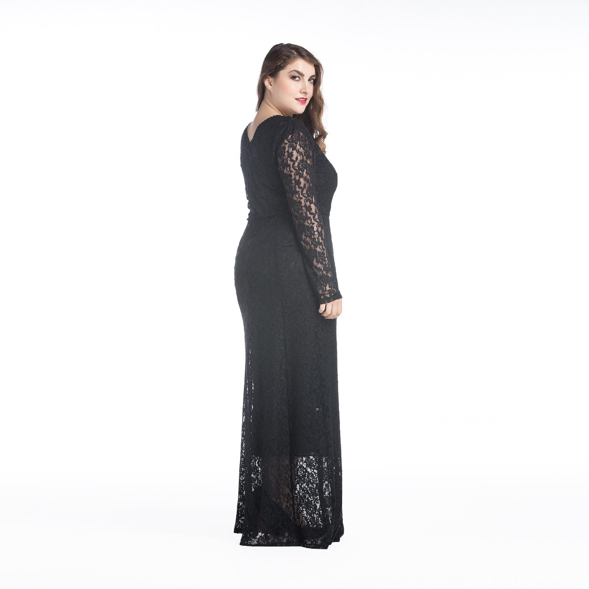 graisse mm tempérament grand creux 8013 mm gras dentelle à manches longues tempérament grande à manches longues creux 8013 robe dressLace robe VojwC