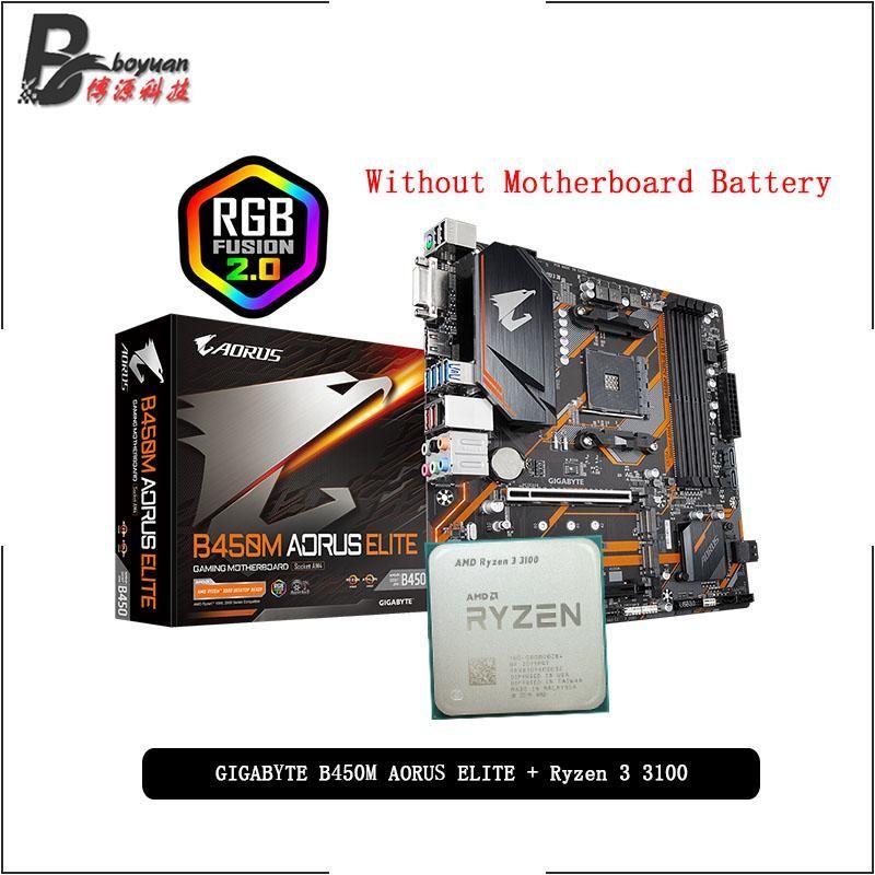 AMD RYZEN 3 3100 R3 3100 CPU + GA B450M AORUS ELITE 마더 보드 정장 소켓 AM4 모두 새로운하지만 냉각기가없는