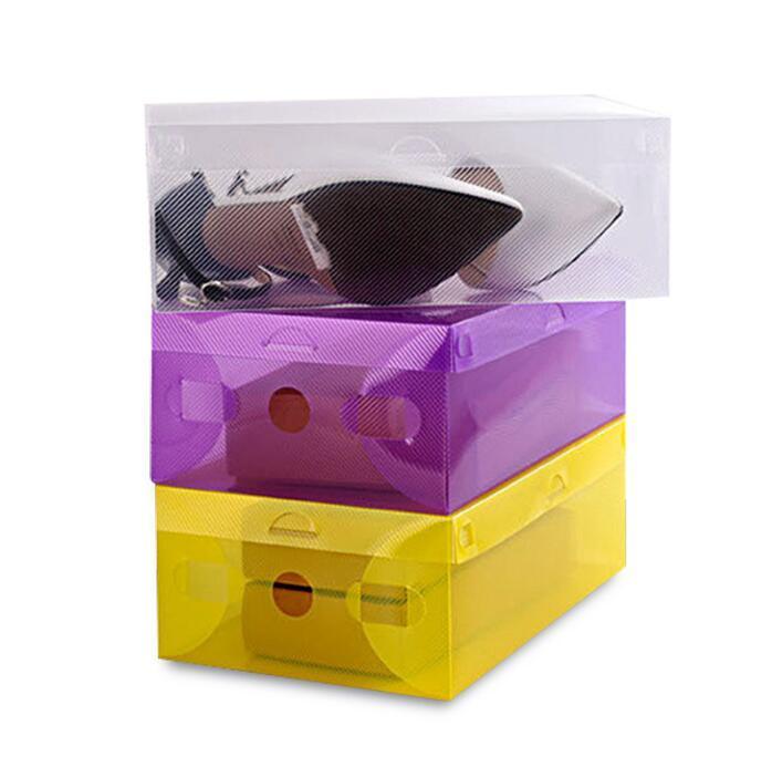 الأحذية البلاستيكية صناديق ثخن مسح الغبار حذاء تخزين مربع حذاء شفاف علب الحلوى اللون تكويم شنط صندوق المنظم KKB2722