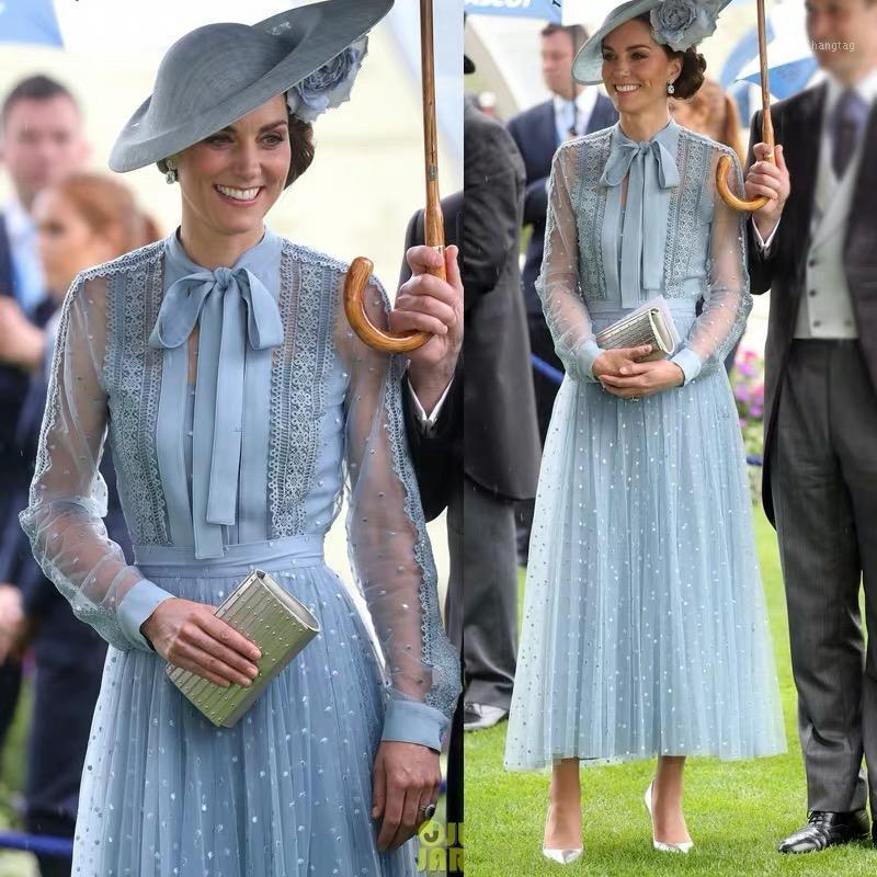 Vestidos de pista Kate Middleton Vestido de noche largo de alta calidad Fiesta de la moda de la alta calidad Vintage elegante elegante elegante bordado manga gown1