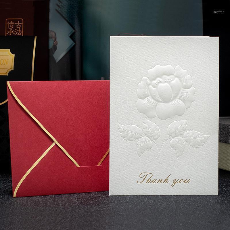 20 unids tarjeta de invitación de boda blanca elegante decoración flores bronceando fiesta de cumpleaños gracias tarjetas con sobres1