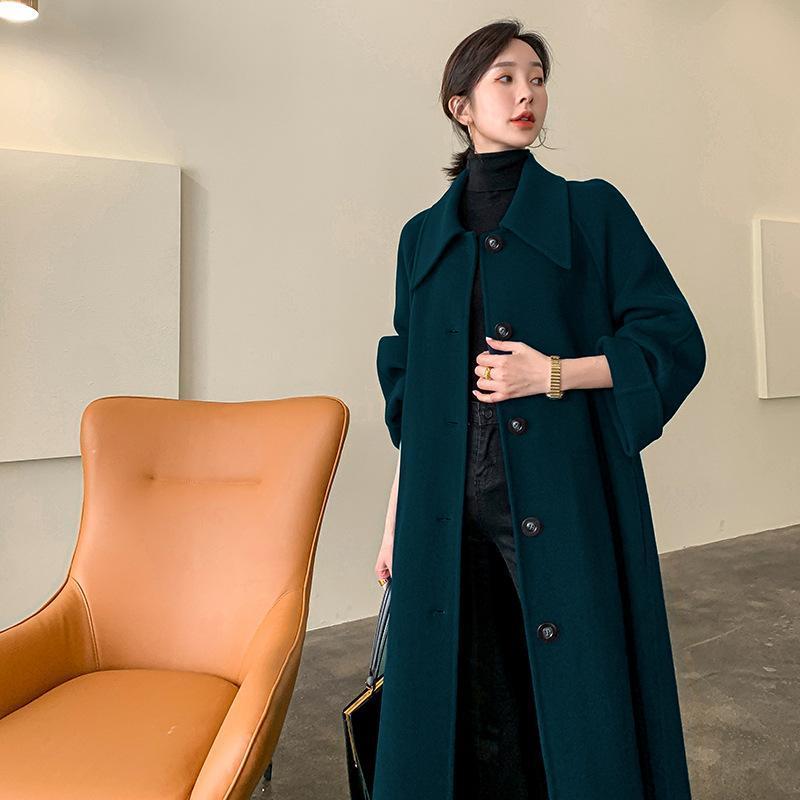 2021 Die neue doppelseitige Han-Edition-Tuch Kaschmir-Mantel lange 100% Wollmantel weibliche Kleidung