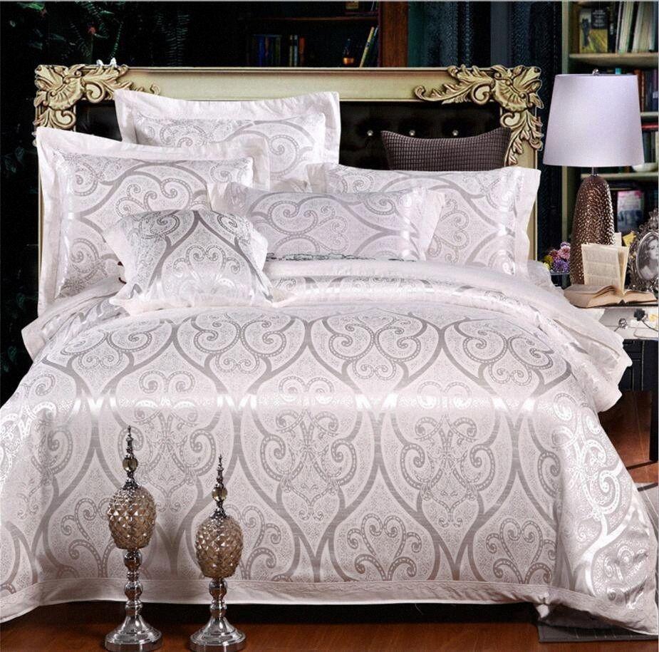 Pastilla de cama de colcha de jacquard blanca Casas de cama conjuntos de cama bordada Conjunto de ropa de cama King Cama ropa de cama Seda / algodón whfg #
