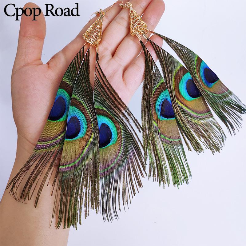 Cangle Chandelier CPOP 3 piezas Naturaleza Largo Peacock Pendientes de plumas Boho étnico Tassel Declaración Mujeres Joyería Accesorios Regalo