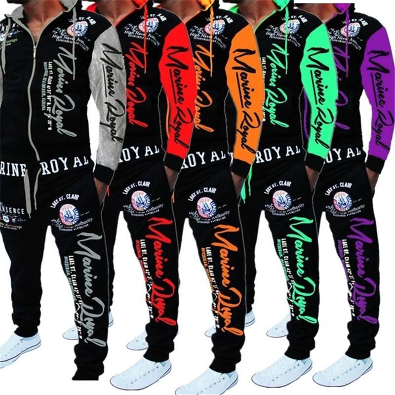 Zogaa mens combinando conjunto dois pedaço conjunto homens sweatsuit casual sportswear hoodies moletom e calças define letra print shellsuit 201123