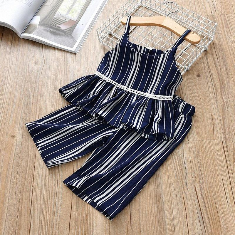 New Summer Baby Girls Clothes Fashion Set Stpried Cold Shoulder Strap Tops + Wide-leg Pants Two-piece Baby Suit Outfits Clothing ZR2X#