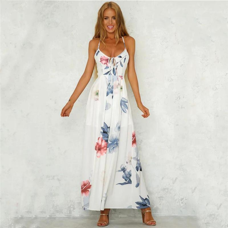 Vestido de verano de playa Sexy Spaghetti Correa sin mangas con cuello en V Patchwork impreso blanco largo Talla grande Vestido de verano 20201