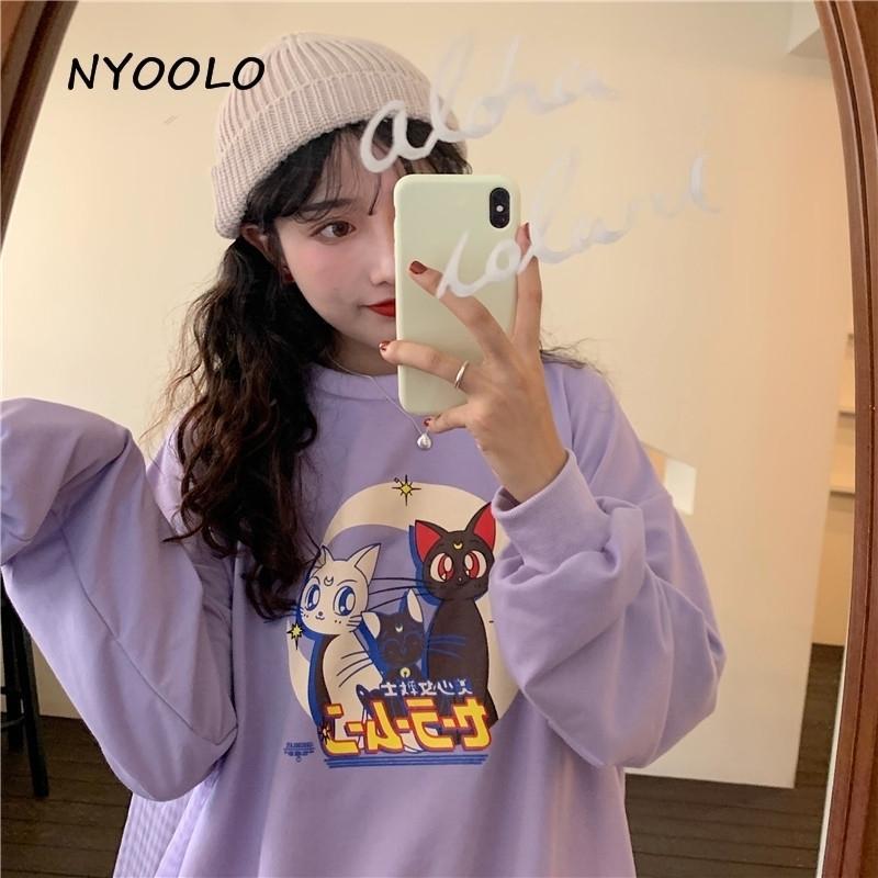 Nyorolo Harajuku Cartoon Sailor Moon Cat Letras Imprimir Hoodies Outono Streetwear Manga Longa Pullovers Fino Sweatshirt Mulheres Top Y200608