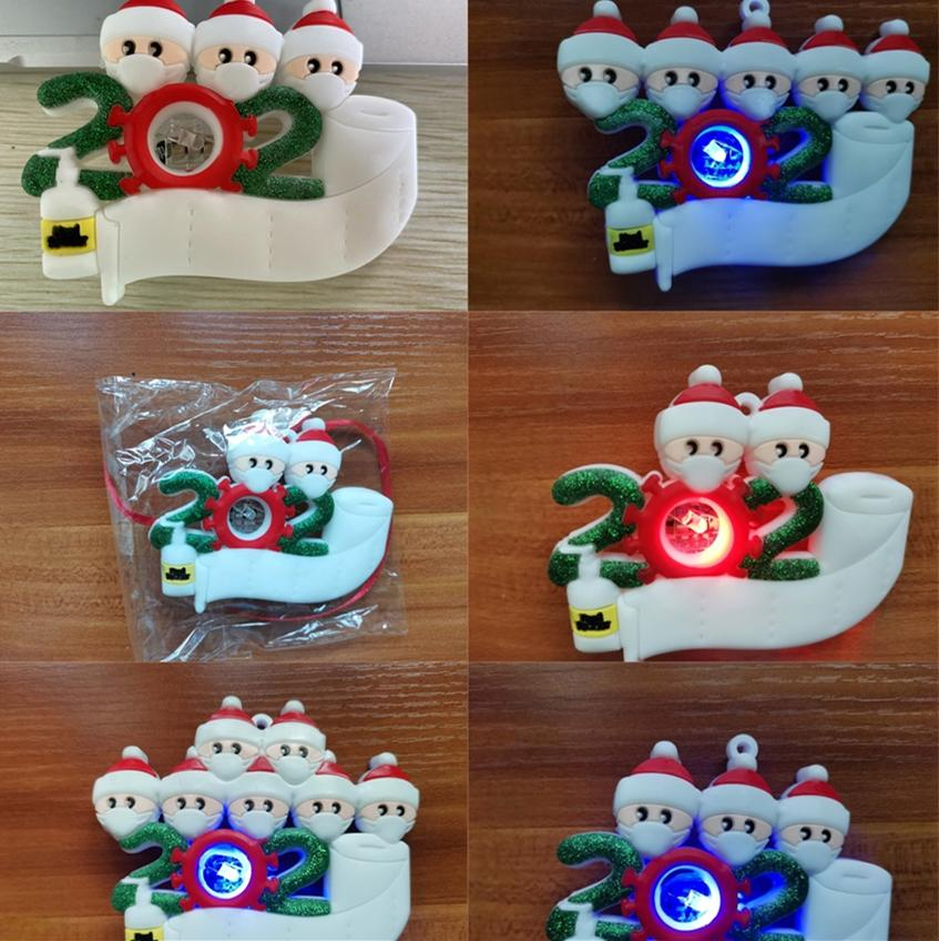 Cheap Christmas Quarantine Ornaments Customized PVC Light Personalized Family Of 5 Ornament Pandemic With Face Masks Hand Sanitized E101001