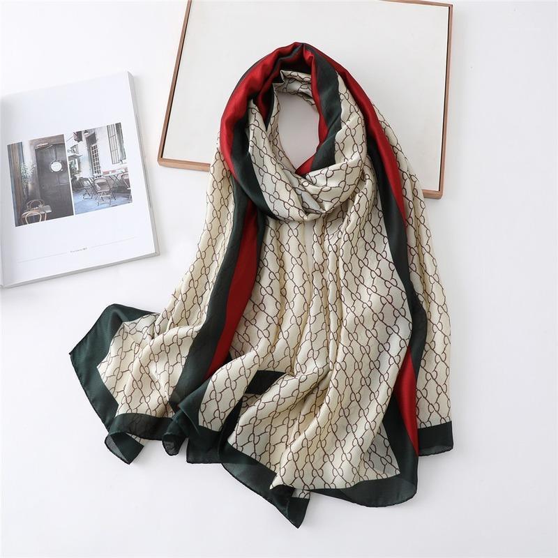 Новый европейский и американский уличный классический узор Известный шарф All-Match Silk Custom Sharf длинные шаль женщины шелк мода1