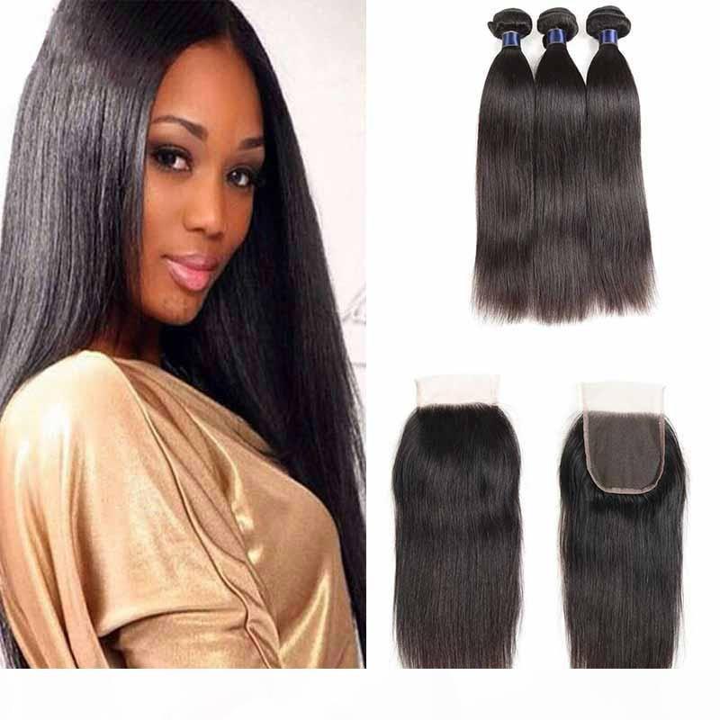 Brezilyalı Düz Bakire İnsan saç örgüleri Doğal Siyah Ucuz Düz 4X4 Dantel Kapatma ile Brezilyalı Virgin Saç Uzantıları