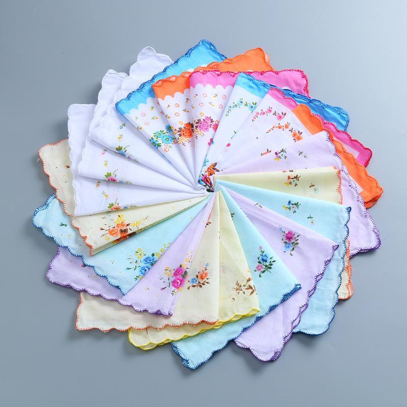 Serviettes florales 100% coton favoris Hankie Femmes Fleur Dames colorées Mouchoirs brodés brodés de poche Mariage de mariage de mariage 169 g2 xcvv