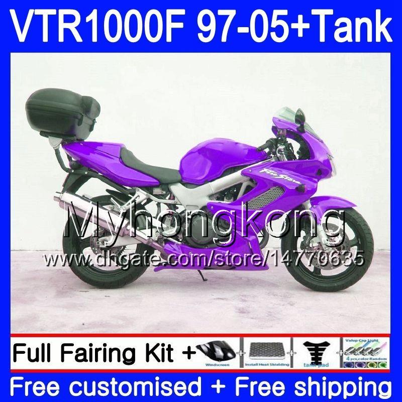Verkleidung für Honda Superhawk VTR1000 F 1997 1998 1999 2000 2001 56HM.186 VTR 1000 F 1000F VTR1000F Neues lila Heiß 97 98 99 00 01 05 Körper + Tank