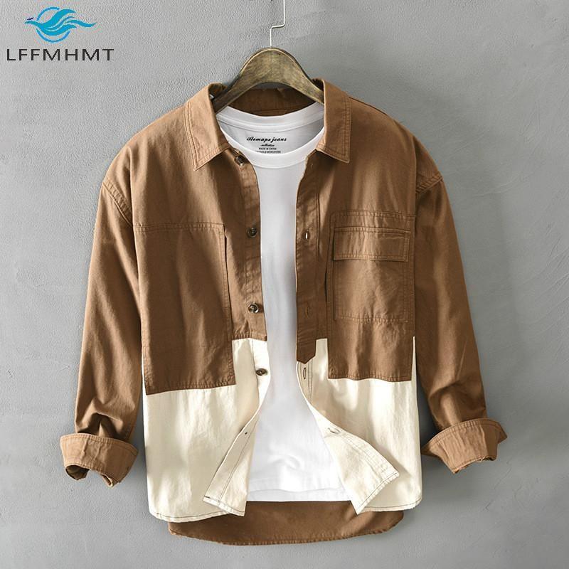 Hombres primavera otoño moda manga larga remiendo solapa solamente shirts shirts delgado ajuste casual salvaje de moda algodón simple superior masculino