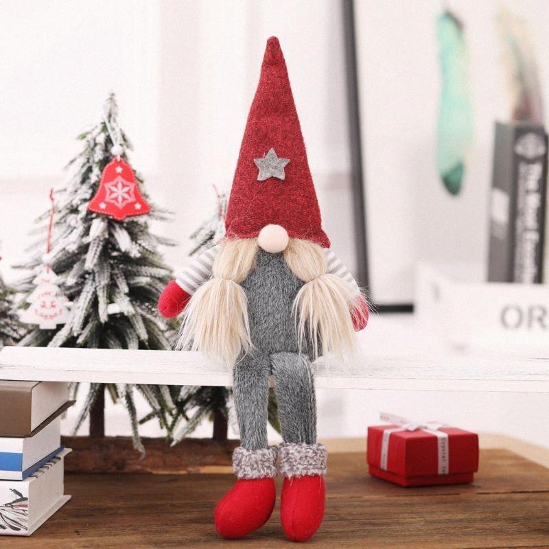Christmas Handmade Swedish Gnome Santa Standing Plush Doll Ornaments Xmas Holiday Home Party Decor Kids Toy Gift X4YD tVtI#