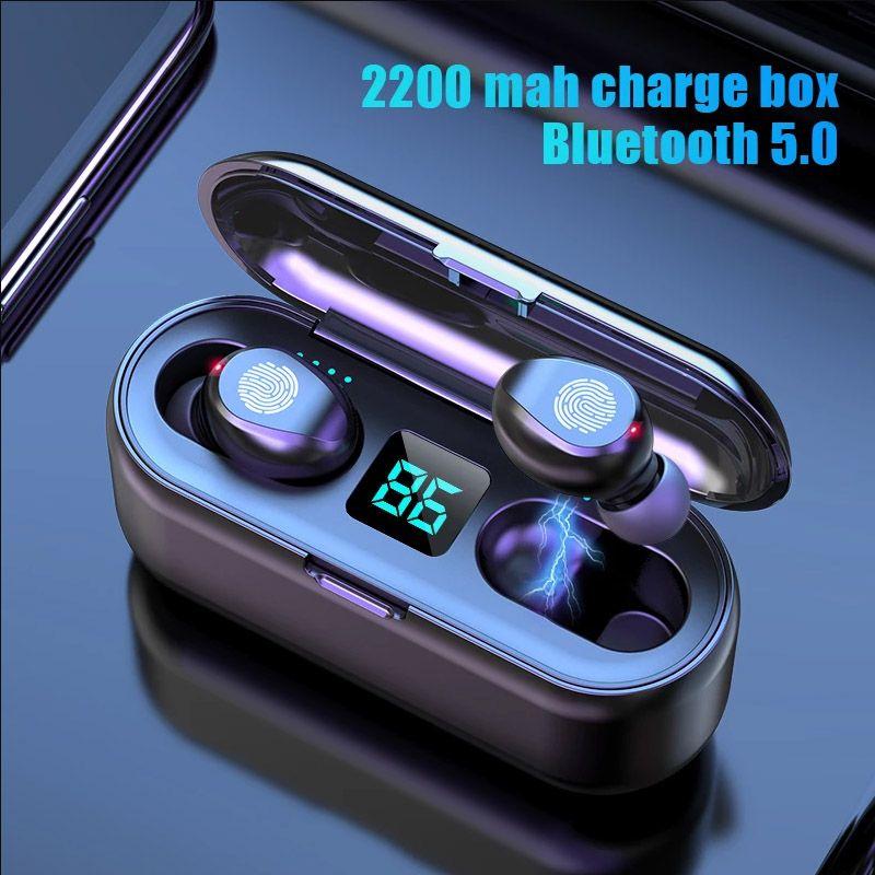 Auricular inalámbrico TWS Bluetooth V5.0 Auriculares estéreo inalámbrico V5.0 LED de la pantalla LED con auriculares de banco de energía 2000MAH con el envío de la gota del micrófono
