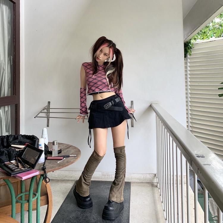 Röcke Gothic Harajuku Vintage Niedrige Taille Mini Hose Rock Schwarz Punk Schädel Bund Denim Culotte Mode Kurzes kühles Mädchen
