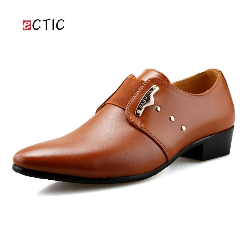 ECTIC 남성 옥스포드 비즈니스 슈즈 소프트 캐주얼 통기성 스마트 플랫 사무실 드레스 가죽 플랫폼 신발 웨딩