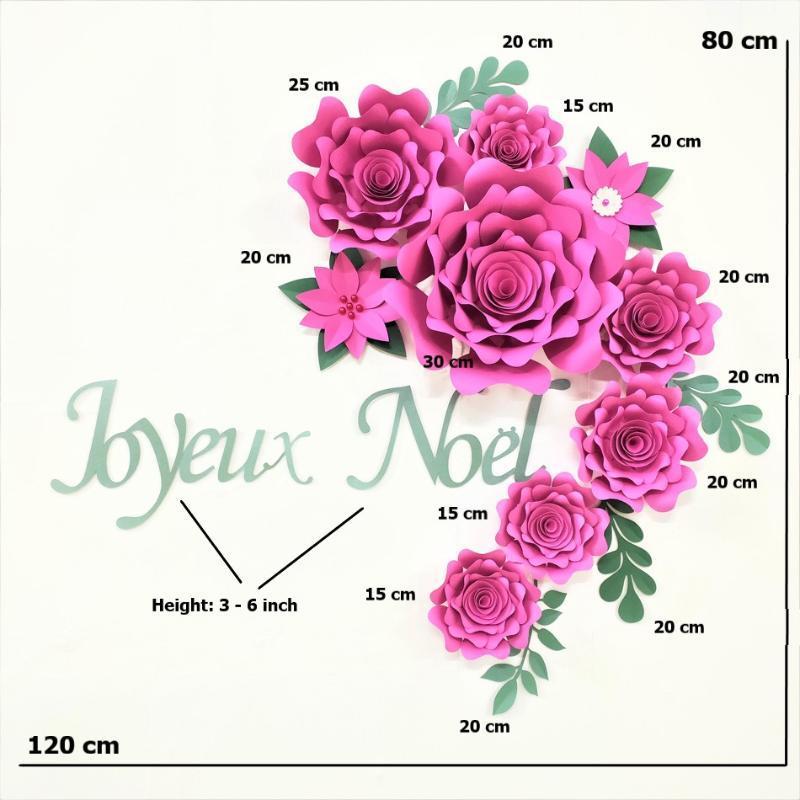 Paper Merry Christmas Flowers Set Christmas Home Decor Party Backdrop Xmas Joyeux Noel Flores Feliz Navidad Rose Flower