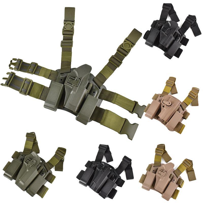 Tactical Airsoft FAST Holster Accessory Bustina ACCESSORI FAST GUN AIRGUN 1911 G17 M9 P266 USP Sig Nylon Tactical Holster con cinturino a gamba P06128