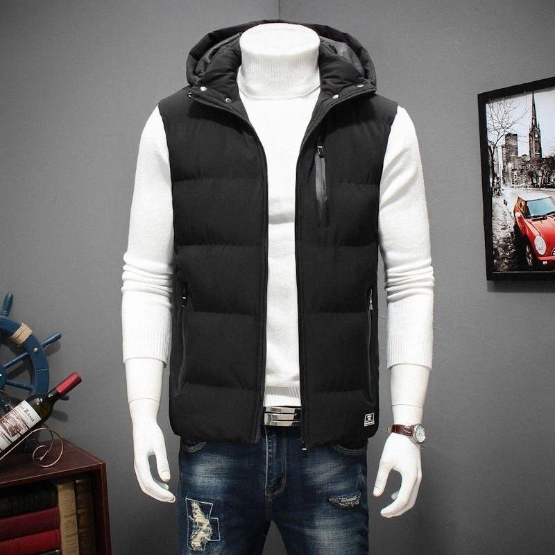 Invierno de gran tamaño abrigos con capucha del chaleco del invierno mangas de los hombres para la chaqueta acolchada caliente Casual Hombres de Down Chaleco 6XL 7XL 8XL YT50164 y723 #