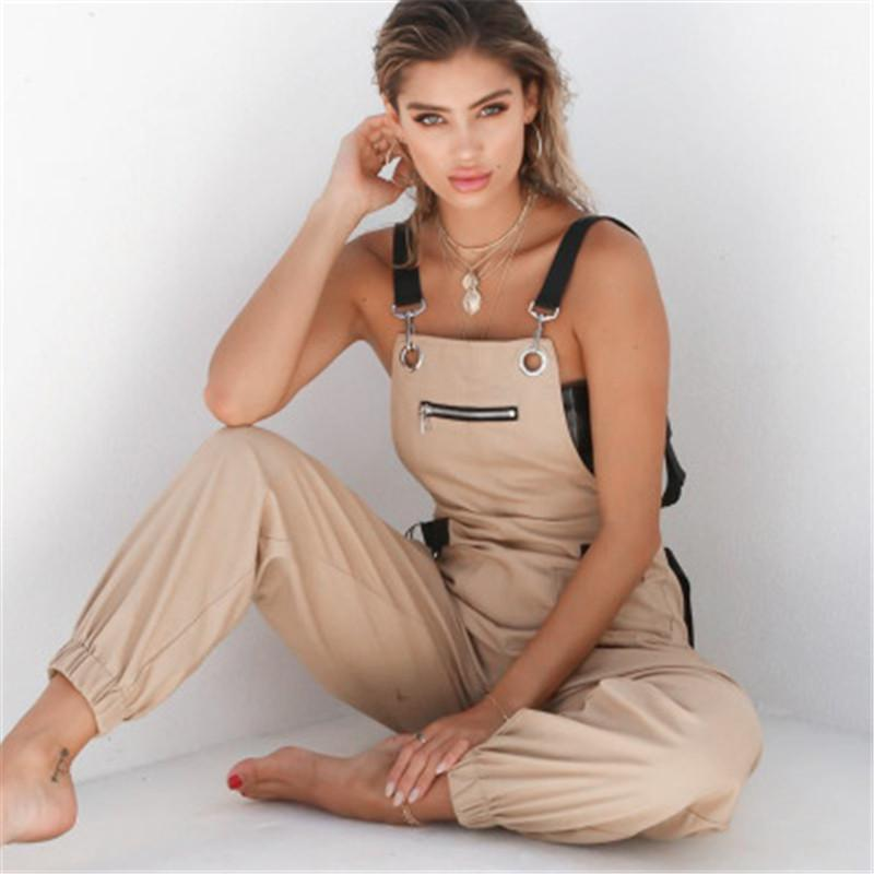Fashion Long Elegant Zipper Pockets Jumpsuit Designer Female Sleeveless Adjusted Strap High Waist Casual Rompers Women New Khaki Rompers