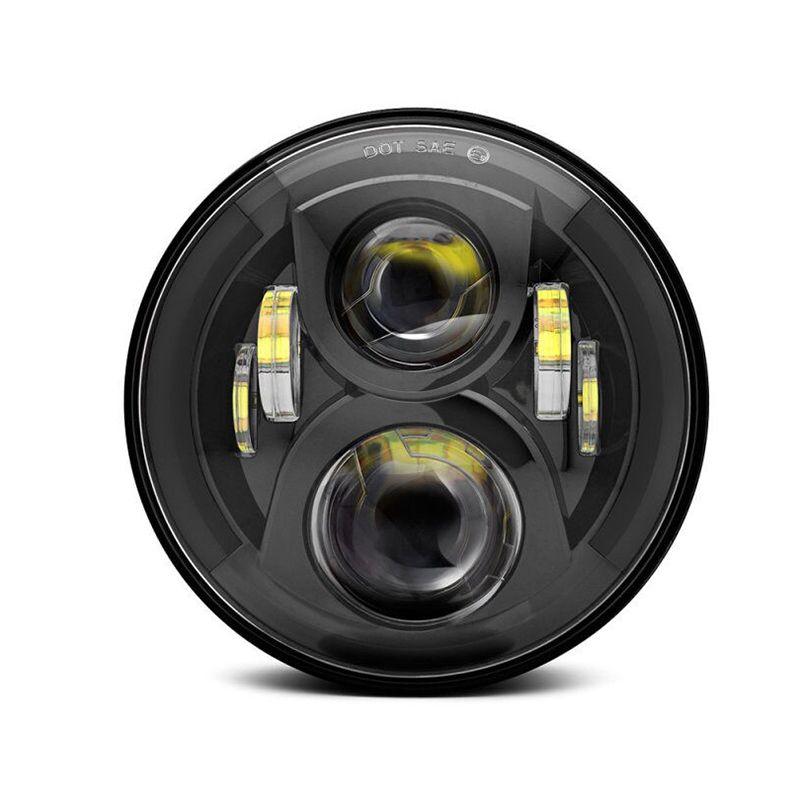 Toptan Nokta Yuvarlak Işık Evrensel 7 inç LED Araç Far Siyah Otomatik Işıklar Seti Projektör İçin Motosiklet