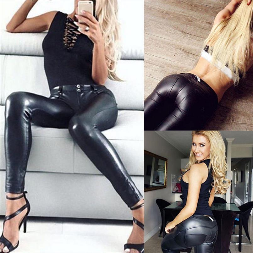 Womens Ladies PU Calças elástico empurrar para cima do lápis magro das calças leggings cintura alta preta Drop Shipping