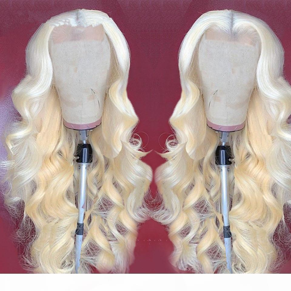 Цвет # 613 Бесстысть полное кружево блондинки человеческие волосы парик парик волны Platinum человеческих волос шнурок передних париков с детской боковой частью волос