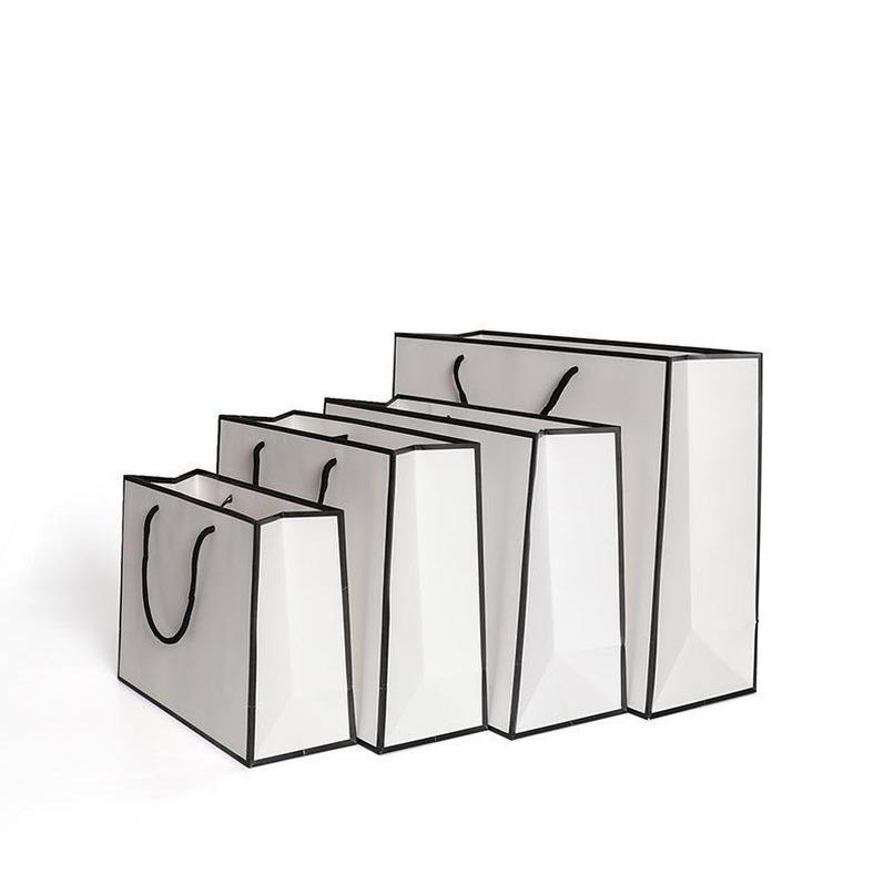 كرافت ورقة الشعبية ثخن حقائب بطاقة الأبيض التعبئة حقيبة الإعلان التخزين حقيبة يد حزب التسوق مخصص الملابس 1 86gr B2