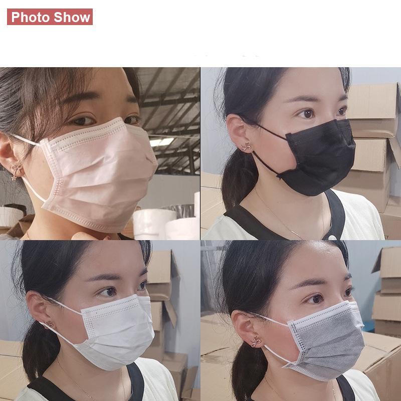 Visage unique Noir anti-couche 3 plis Masque respirant Filtre Masque adulte Masques de poussière non tissée Stock Asnkf KJHCP