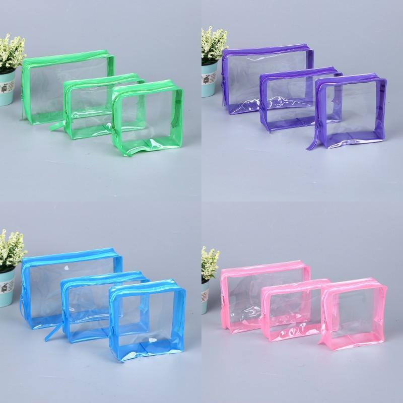 방수 PVC 화장품 가방 투명한 솔리드 컬러 메이크업 세면 용품 파우치 여성 여행 저장 패키지 멀티 사이즈 2 45xH N2