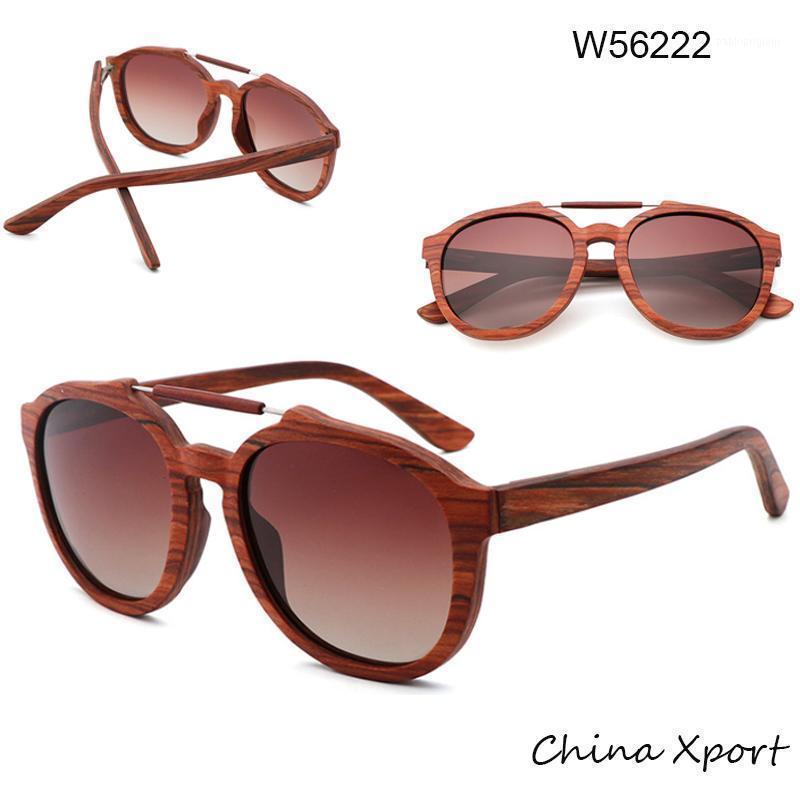 Doble puente hombres mujeres gafas de sol 2020 gafas de sol de madera real caliente de madera vintage con UV400 polarizado Lens1