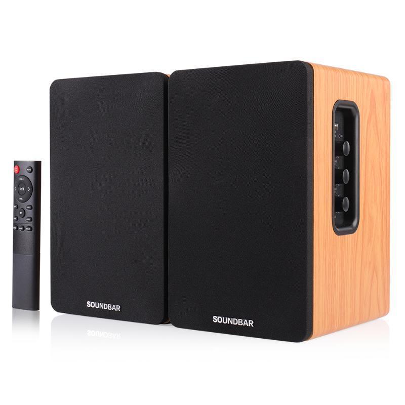 SR01 80W 1 Pair 4.5 inches Wooden Bookshelf Speakers 2.0 HiFi Column Sound Home Theater Professional speaker Soundbar For TV PC