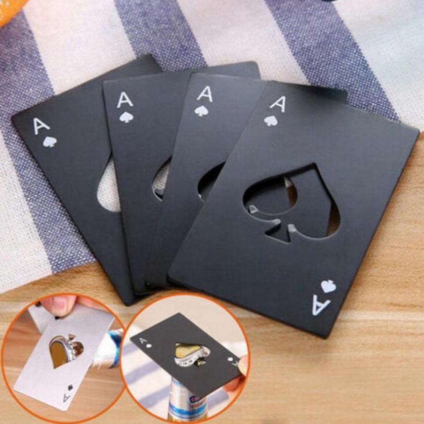 Poker Stainless Steel Openers Bar Credit Card Soda Beer Bottle Opener Gifts Kitchen Tools CYZ2955