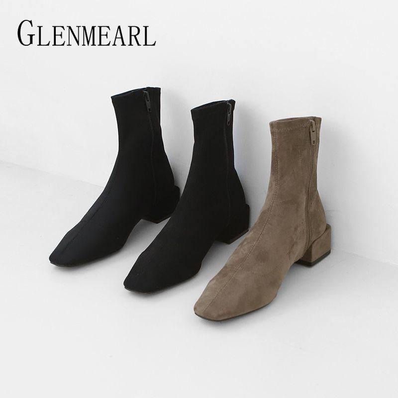 Сапоги на лодыжки для женщин зимняя обувь бренд женских ботинок квадратных каблуков молния простые повседневные туфли 2019 весна осень новое поступление de y200723