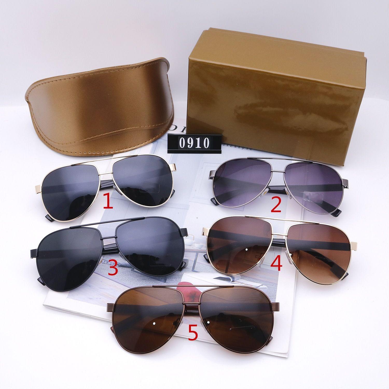 Beş Renkler Erkekler Için 2021 Moda Güneş Gözlüğü Tasarımcılar Lüks Yüksek Kalite Renk Değişen Aviator Sürüş Polarize Gözlük Kutusu Ile 0910