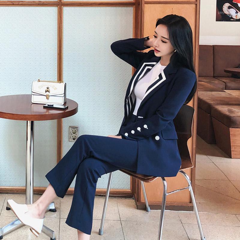 Бизнес Униформа Новая Мода Лето Осень Женщины Профессиональный Темперамент Офис Леди Blazer Slim Брюки Двухсексуальные Костюм Set1