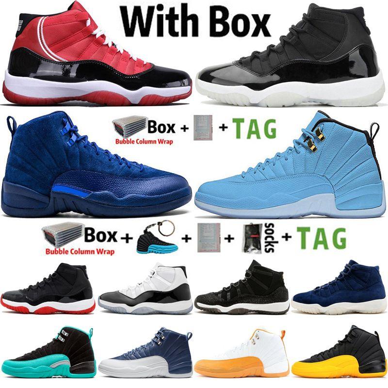 2021 مع صندوق jumpman 11 11 ثانية 25 الذكرى السنوية كونكورد 45 رجل كرة السلة الأحذية 12 12 ثانية عميق الملكي الأزرق UNC ميشيغان النساء المدربين الرياضة أحذية رياضية الحجم 36-47