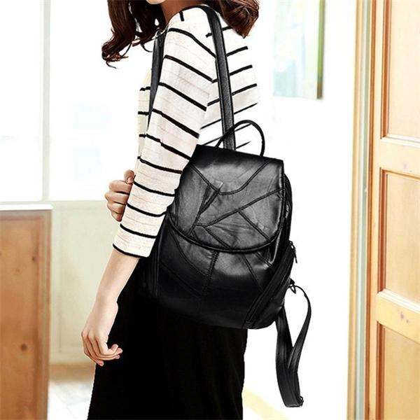 sheepskin Leather Backpack Women new fashion Hotsale School Bags Teenagers Backpacks for Teenage Girl Q1104