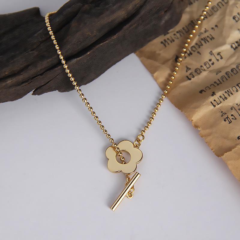 Silvology 925 Sterling Silber Runde Perlenkette Blume Choker Halskette Gold O T Schnalle Elegante Halskette Für Frauen 925 Schmuck LJ201009