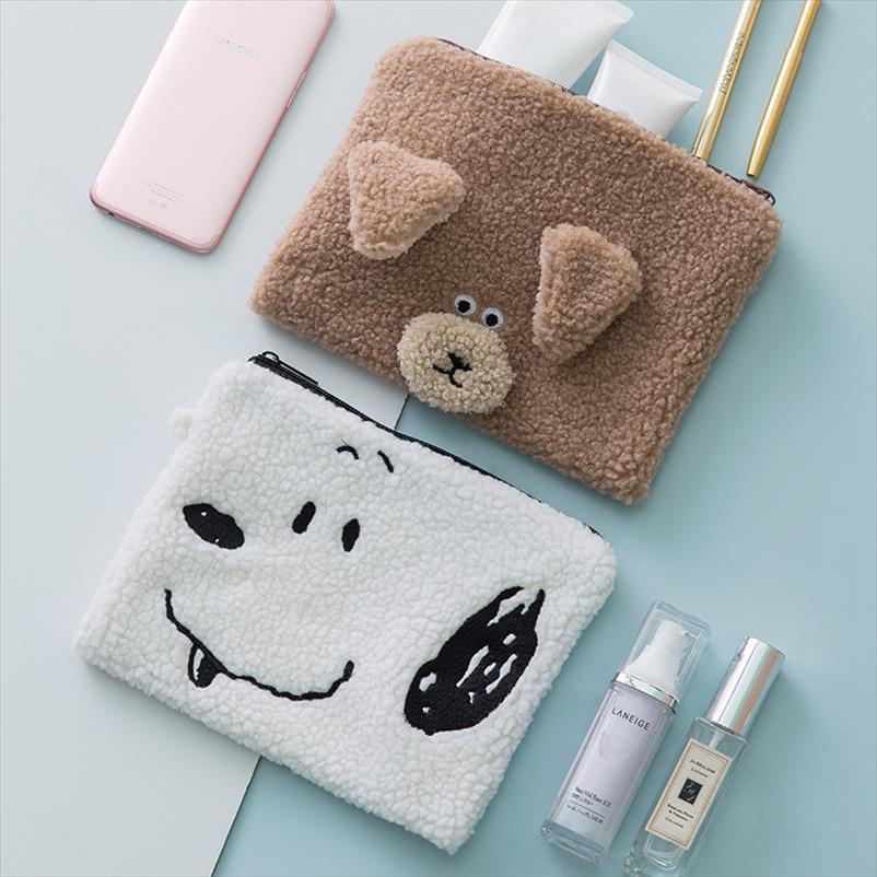 Borsa Cartoon Animal Orso cosmetico di corsa di trucco portatile dell'organizzatore di caso di articoli da toilette Bellezza Wash Donne bagagli Zipper Pouch