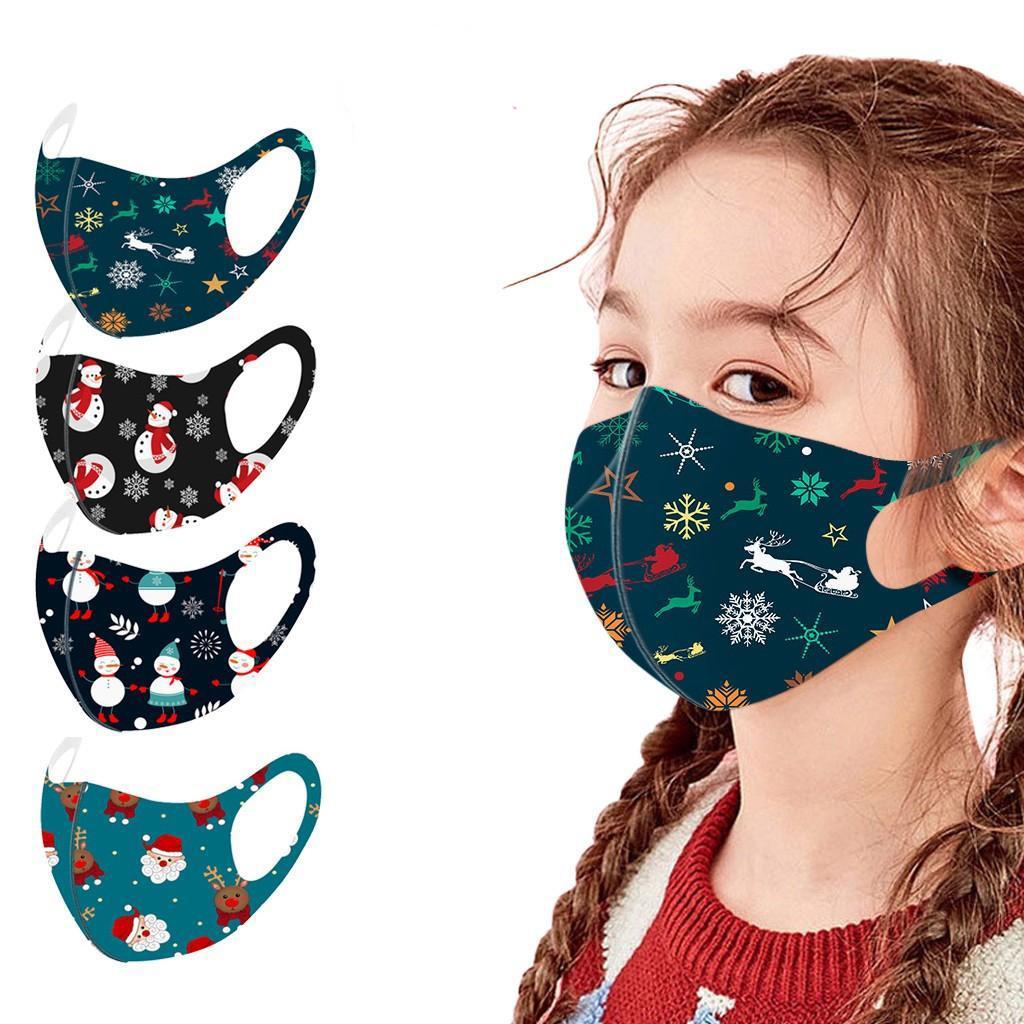 Noel Maskesi Moda Baskı Anti-toz Nefes Yıkanabilir Buz İpek Ağız Maske için Noel Çocuk yüz maskesi