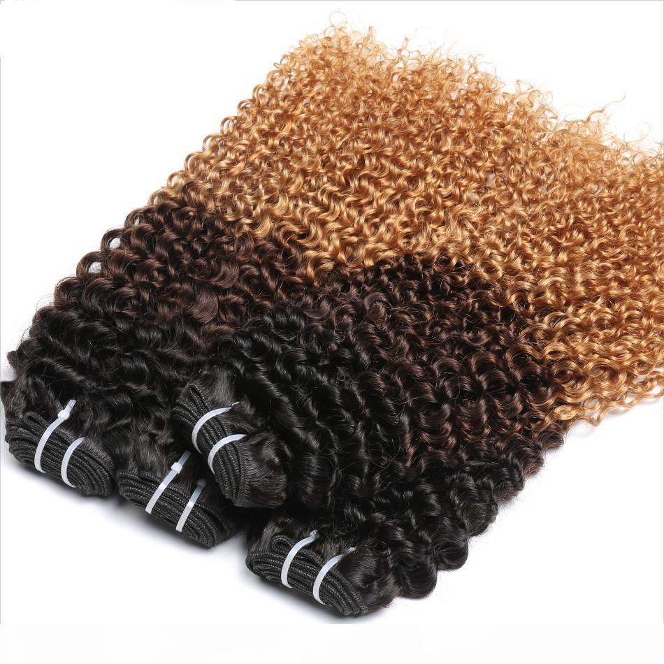 -27 Толстого Уток Ombre Blonde Hair Extensions Бразильского кудрявый Curly Virgin Human Virgin Hair 1б Full Head