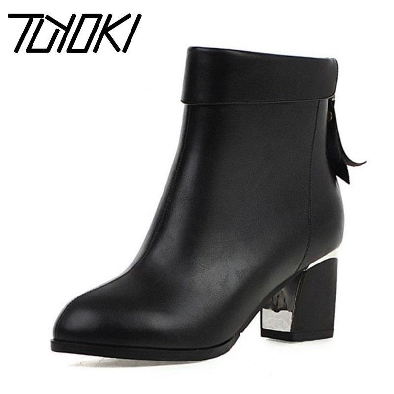 Tuyoki Plus Размер 32-45 Зимняя осень женщина черные лодыжки сапоги на молнию западный стиль обувь женщин офисные рабочие ботинки обувь обувь