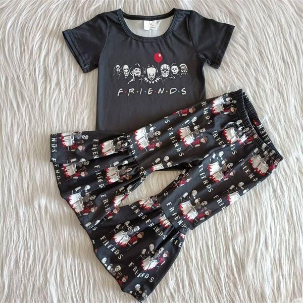 Boutique conjuntos de vestir de los niños imprimen los pantalones de campana amigos negros traje de vestir de las muchachas de la manga corta 0927