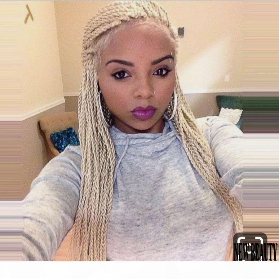 200Ditenite Full Handmade Perruque Spirs Synthetic кружева передних париков Pure 613 Platinum Blonde Fright Senegalese Twield Track Foreg с волосами для детей