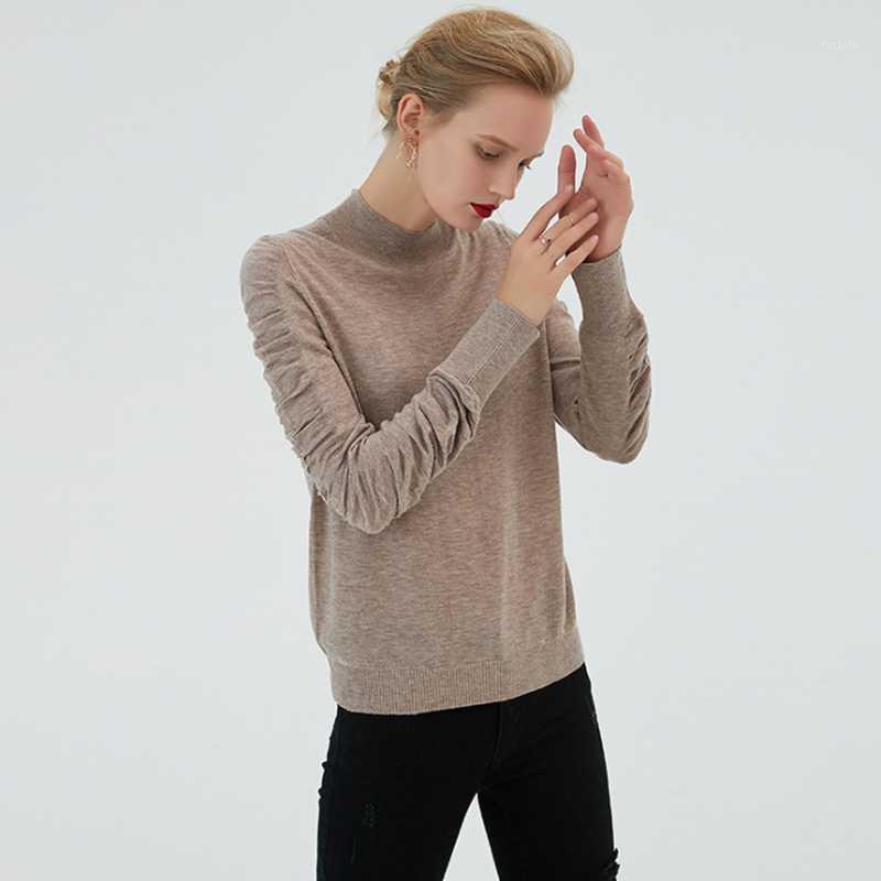Осенняя зимняя шерстяная свитер женщины 2019 новая чистая цветная пена рукава нижняя рубашка самосовершенствование легкий сопоставленный вязальный свитер1